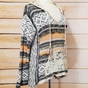 American Rag Crochet/Lace Hooded Boho Sweater L